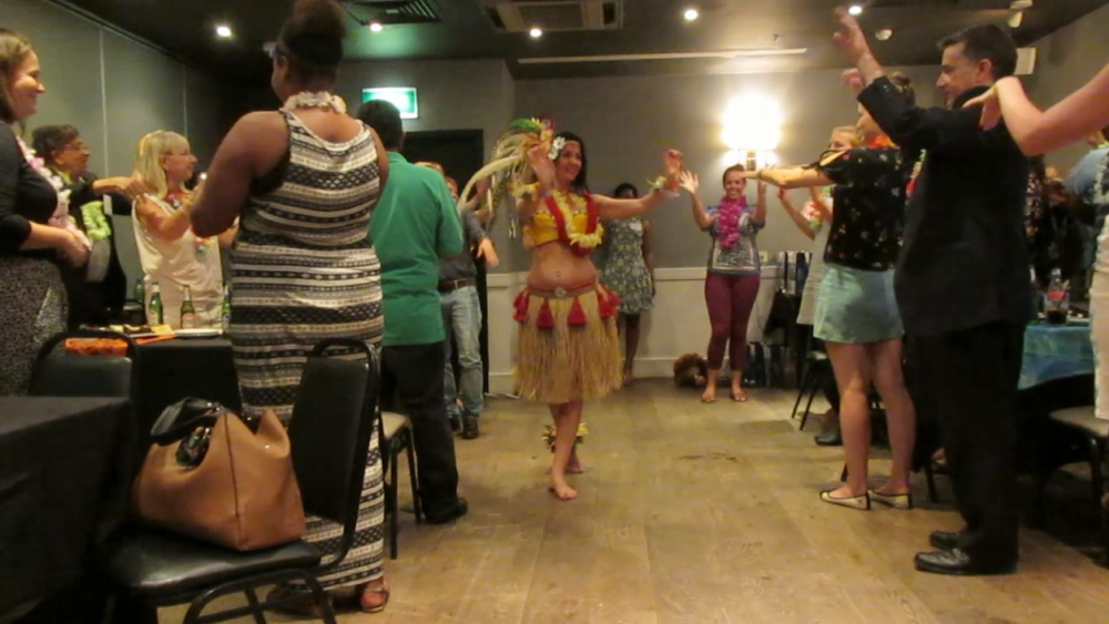 Artistic Director Andrea leading a Hawaiian Hula workshop