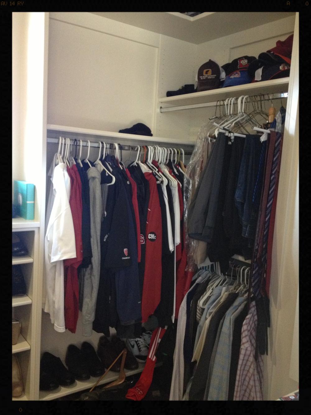 Men's closet before