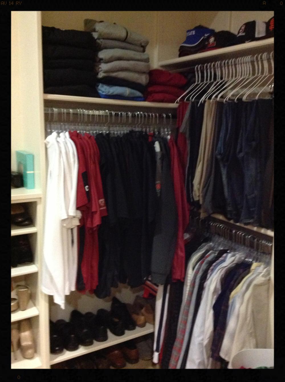 Men's closet after