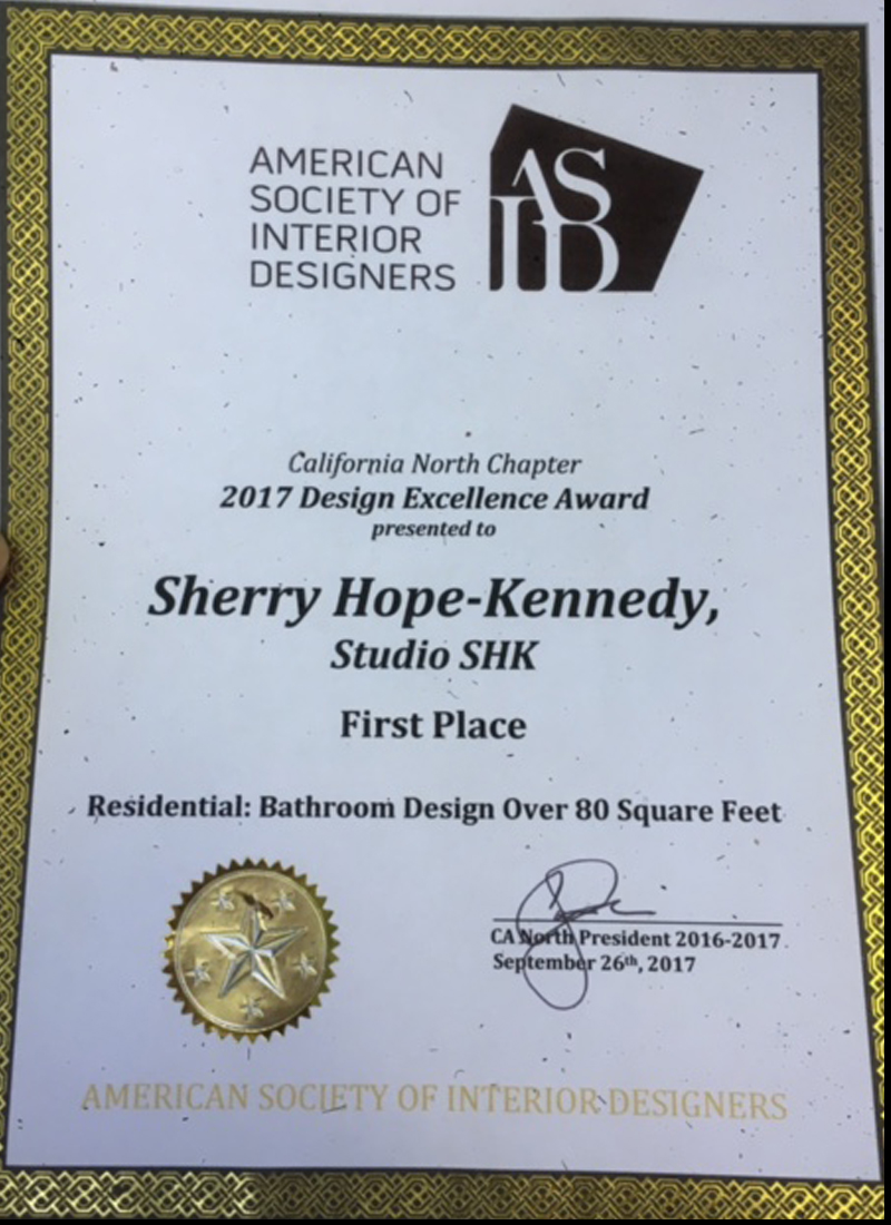 ASID Design Excellence Awards - Our Master Bathroom won the 2017 Design Excellence Award, California North Chapter for the