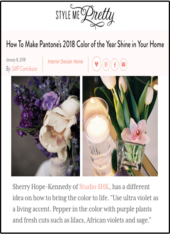 Style Me Pretty - Read Sherry's advice on how to make Pantone's 2018 Color of the Year shine in your home at StyleMePretty: http://bit.ly/2Fdjr25