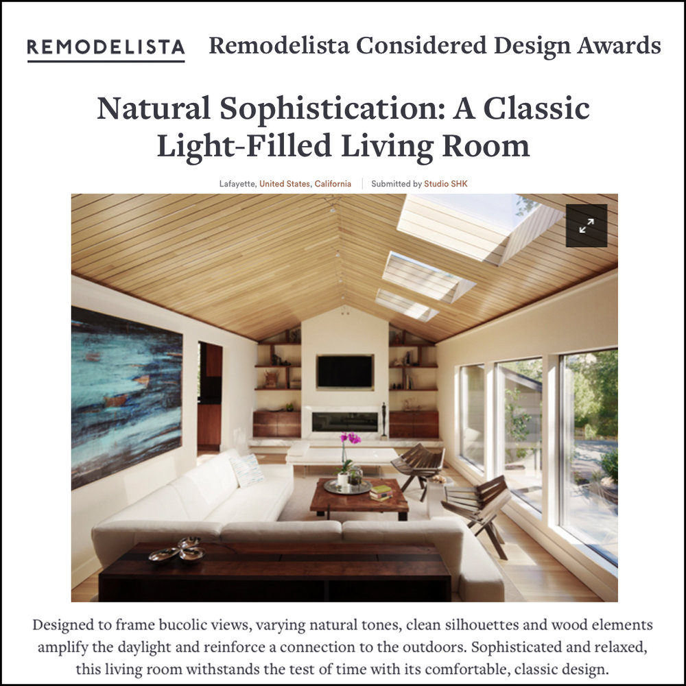 Remodelista - We entered our Ridge Road living room in the 2018 Remodelista Considered Design Awards for the Living Space category!