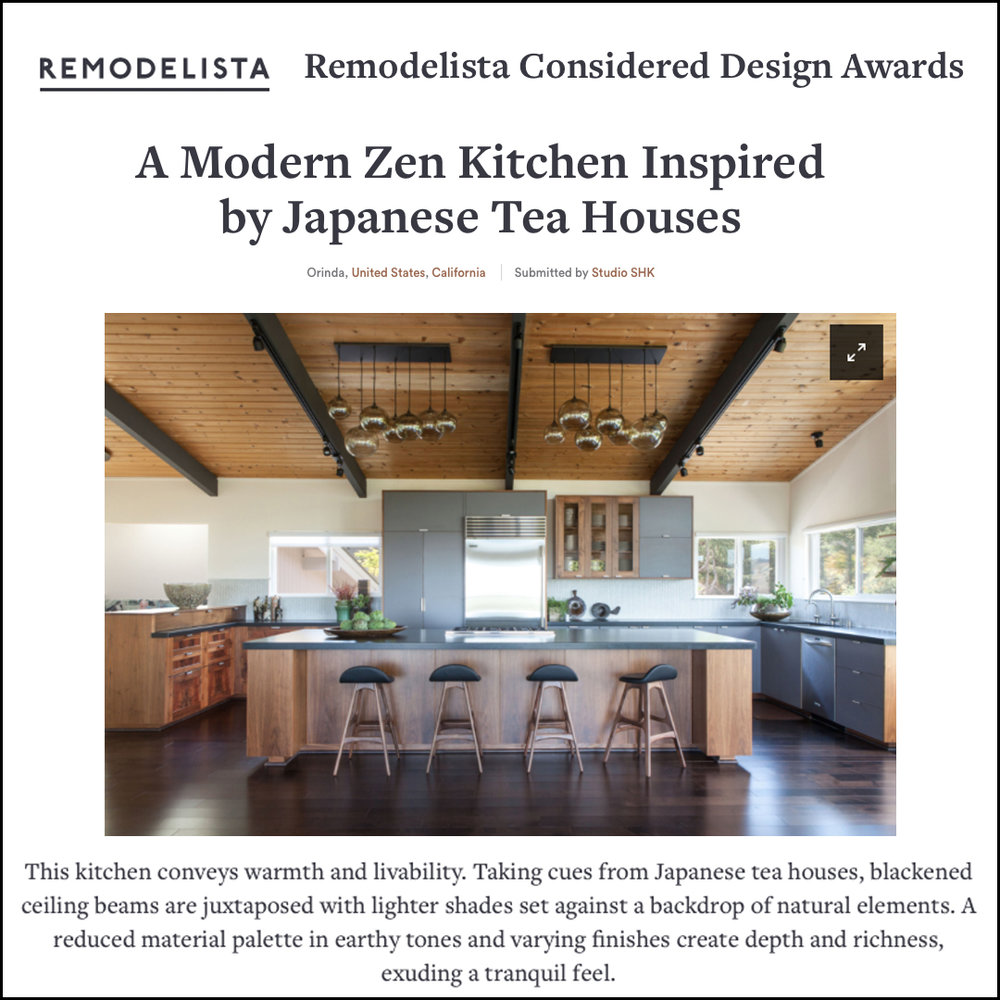 Remodelista - With three categories, we couldn't resist entering our Modern Zen Kitchen in the 2018 Remodelista Considered Design Awards for the, you guessed it, kitchen category!