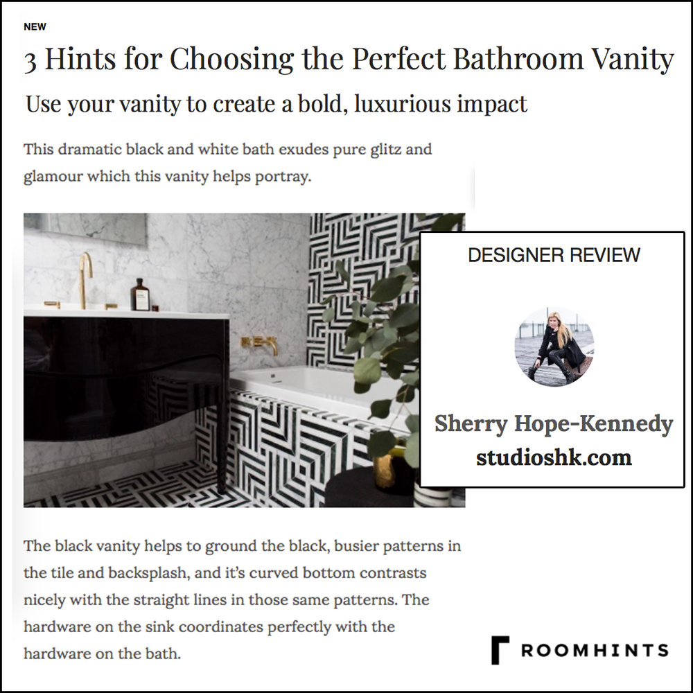 Roomhints - Roomhints interviews Sherry about her favorite bathroom vanity. She goes bold with her interior design, sourcing a black, curvy vanity that's a nod to the past.