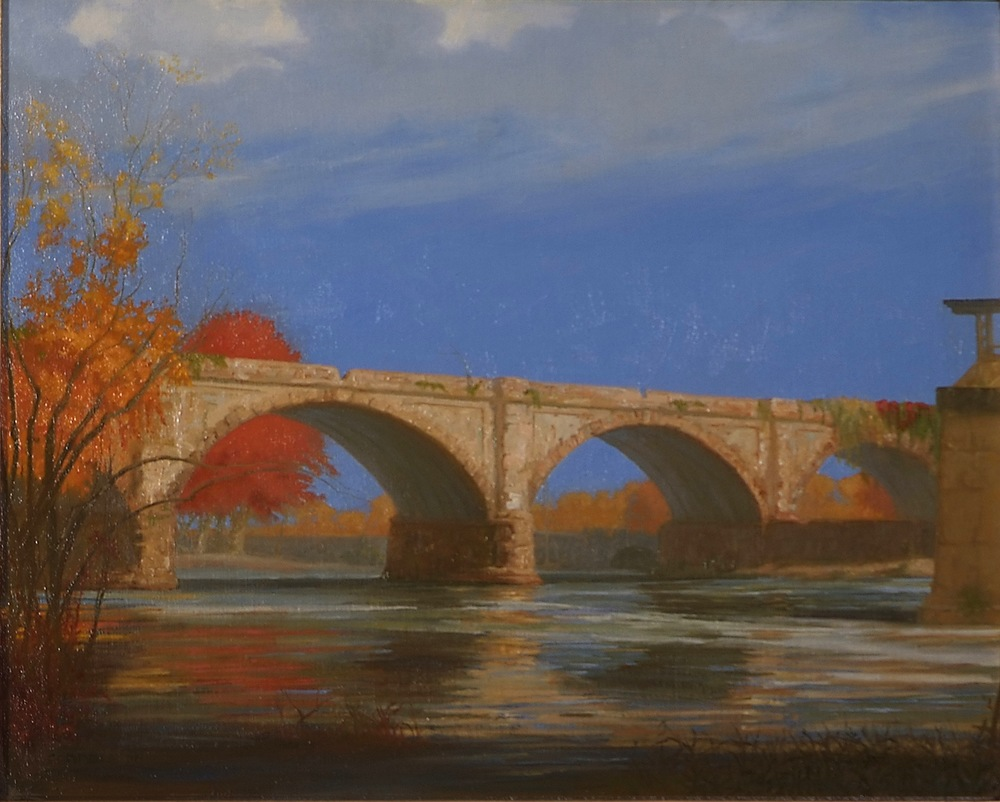 West Falls Bridge, Fall, 16 x 20 inches, oil on linen