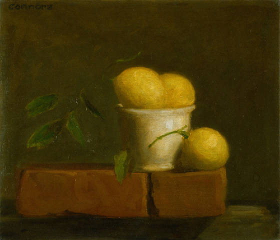 Lemons and Bricks, 12 x 16 inches, oil on linen