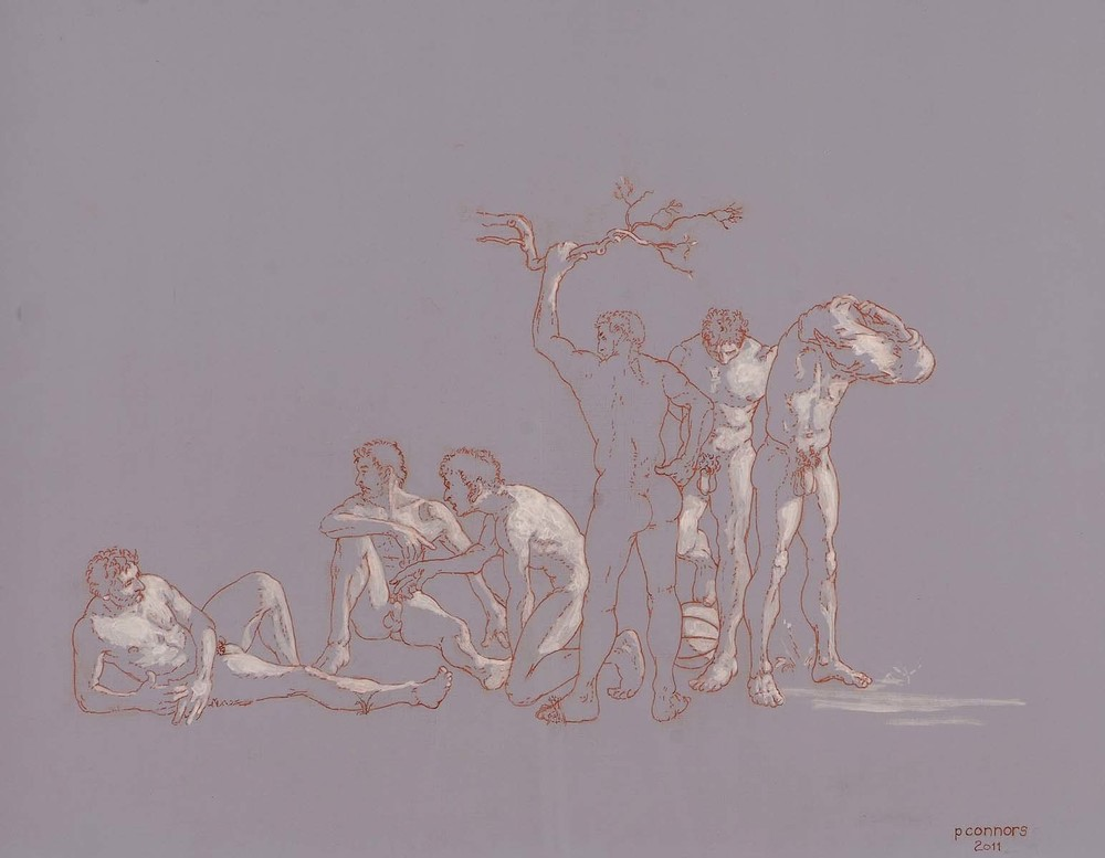 "Six Nude Males, Evening, 16"" x 20"", ink, red chalk, and acrylic on linen"