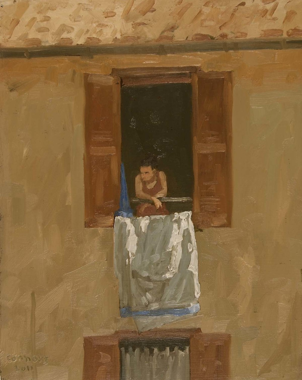 Trastevere Window, 12 x 9.5 inches, oil on prepared paper