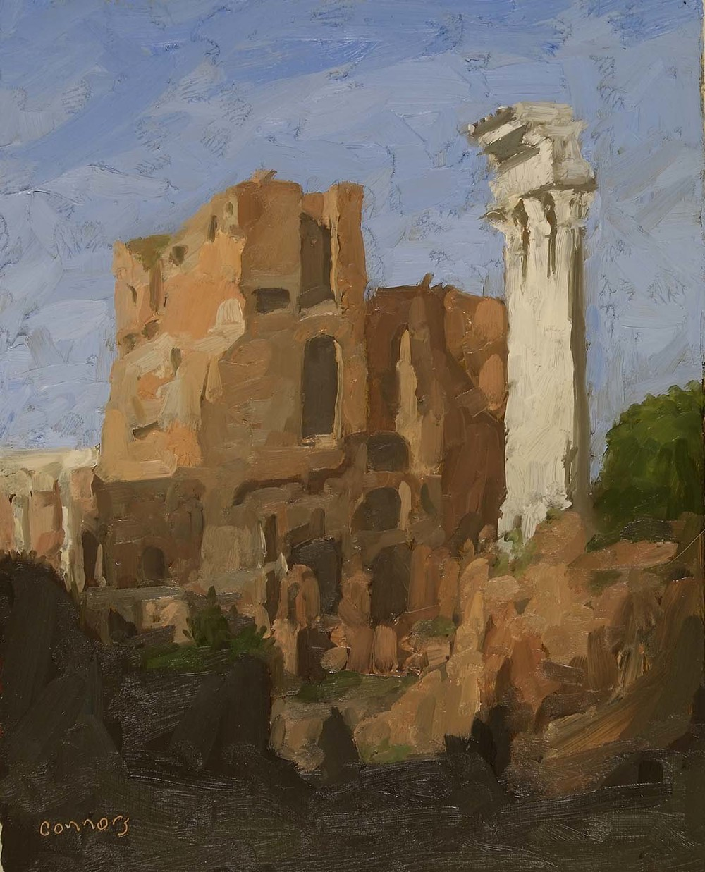 Roman Forum, North Entrance, 12 x 9.5 inches, oil on prepared paper