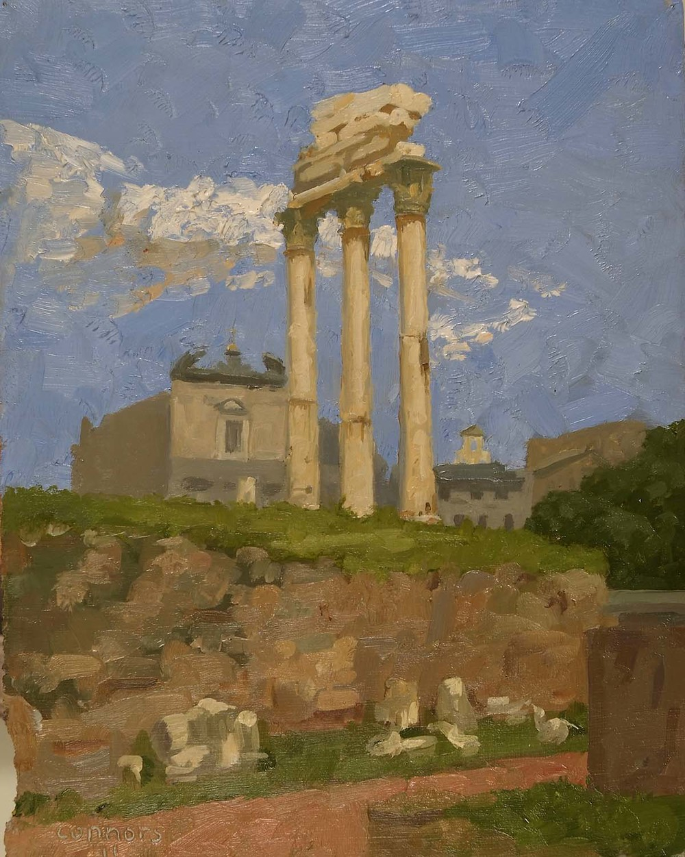 Temple of the Discouri, Afternoon, 12 x  9.5 inches, oil on prepared paper