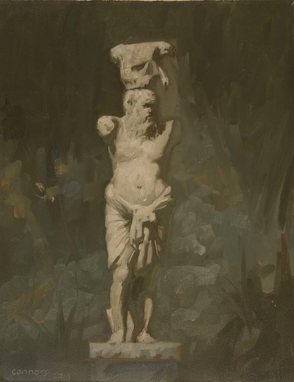 Male Caryatid, Hadruan's Villa, 9.5 x 12 inches, oil on prepared paper