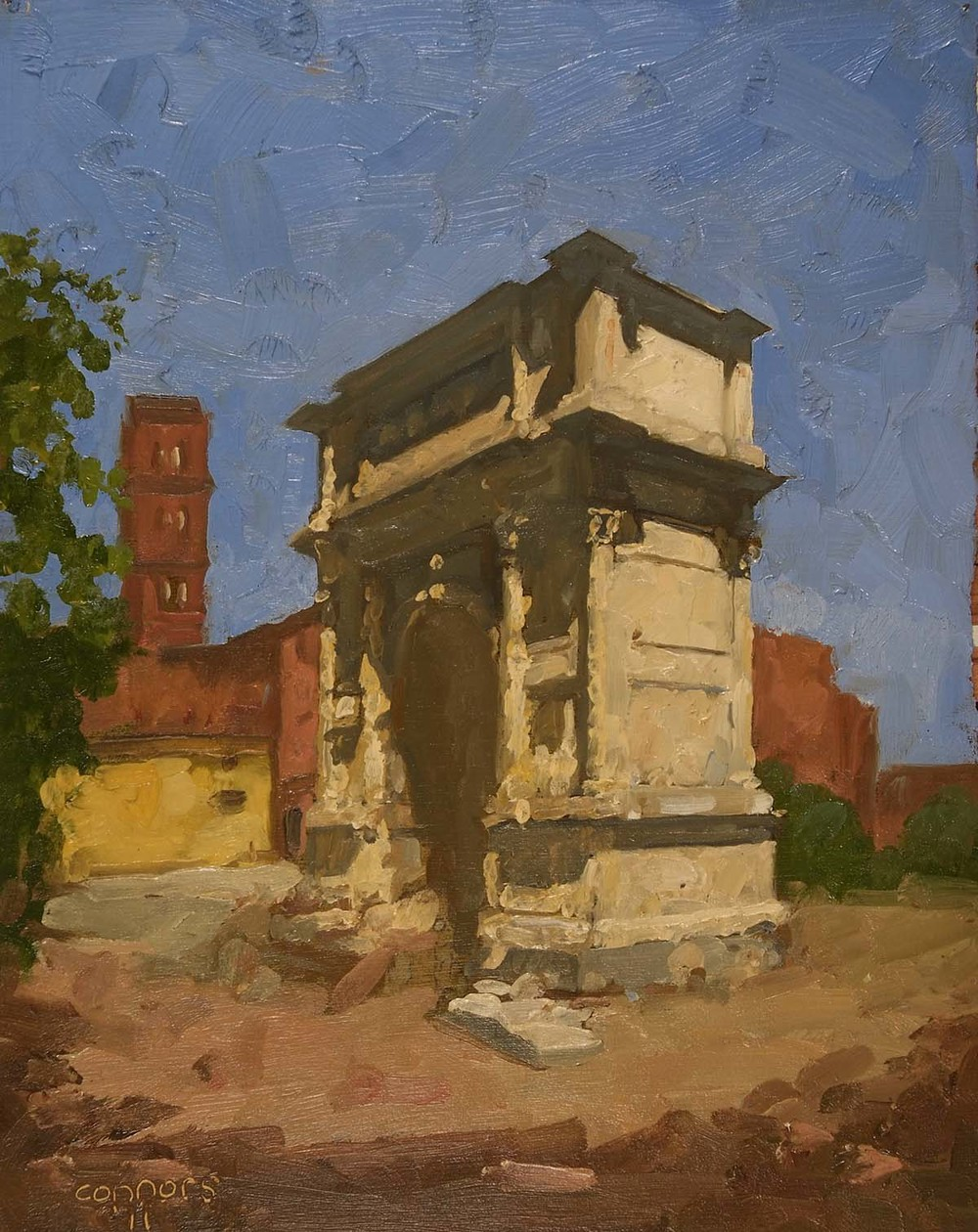 The Arch of Titus, 12 x 9.5 inches, oil on prepared paper