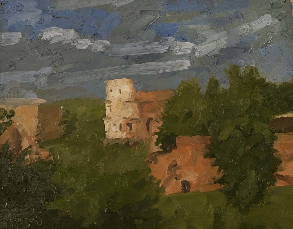 Approaching Storm with Coliseum, 9.5 x 12 inches, oil on prepared paper