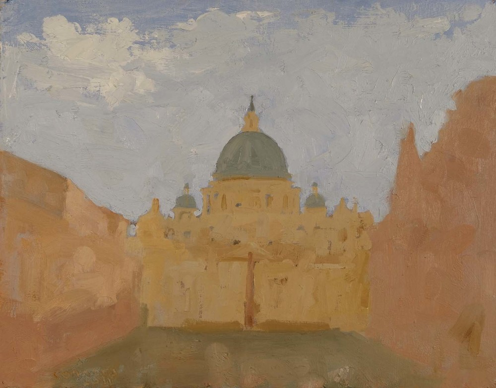 St Peter's in the Rain, 12 x 9.5 inches, oil on prepared paper