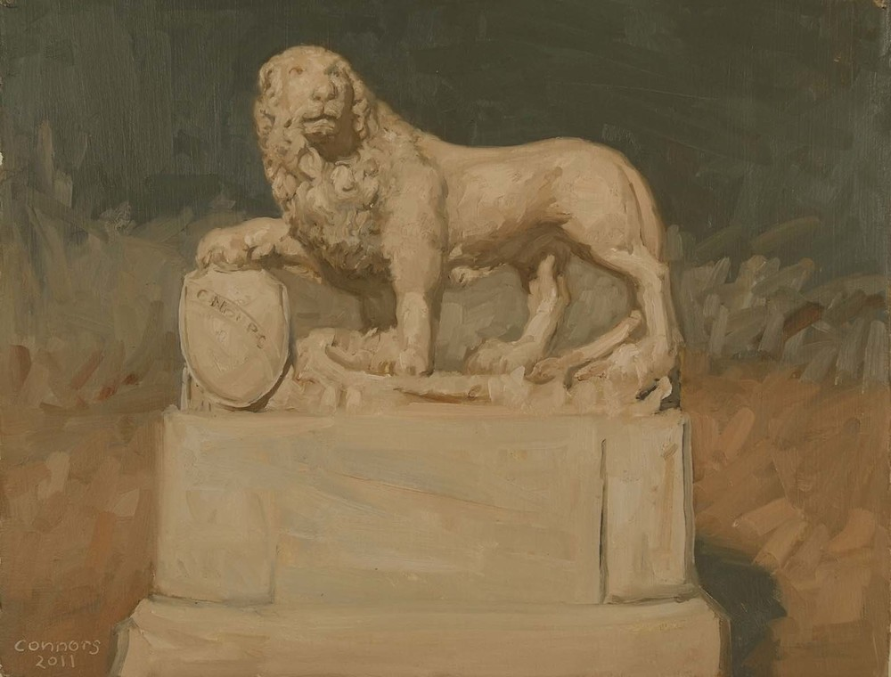Borghese Gardens Lion, 12 x 9.5 inches, oil on prepared paper