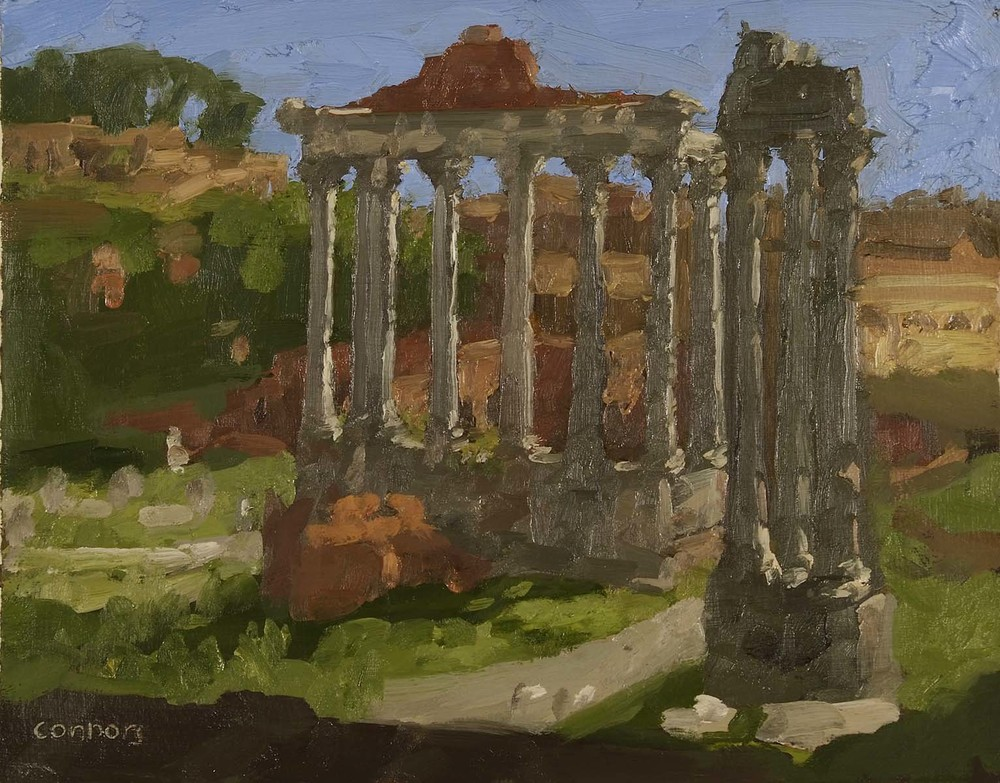 Temples of Saturn & Vespasian, Evening, 9.5 x 12 inches, oil on prepared paper