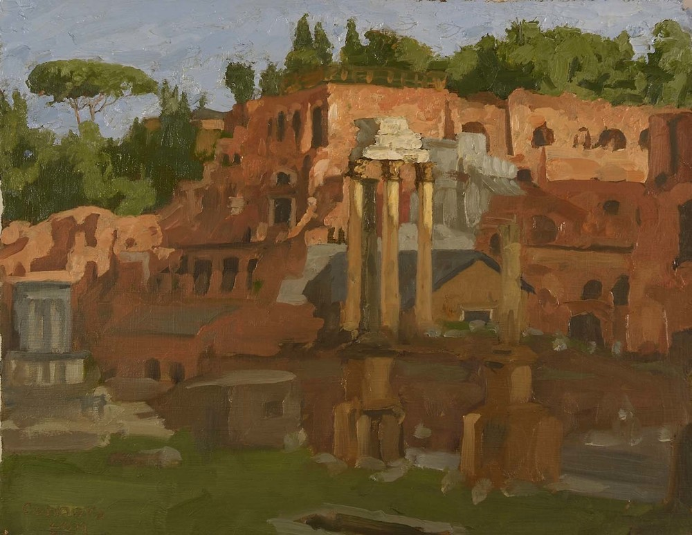 Roman Forum, Evening,  9.5 x 12 inches, oil on prepared paper