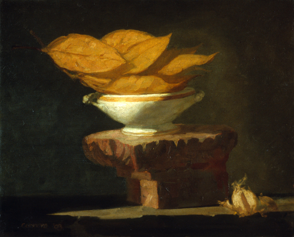 Dried Magnolia Leaves and Garlic, 16 x 20 inches, oil on linen