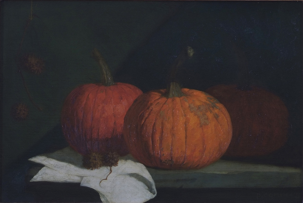 Pumpkins with Burr Balls [of a Sweet Gum Tree], 12 x 18 inches, oil on linen
