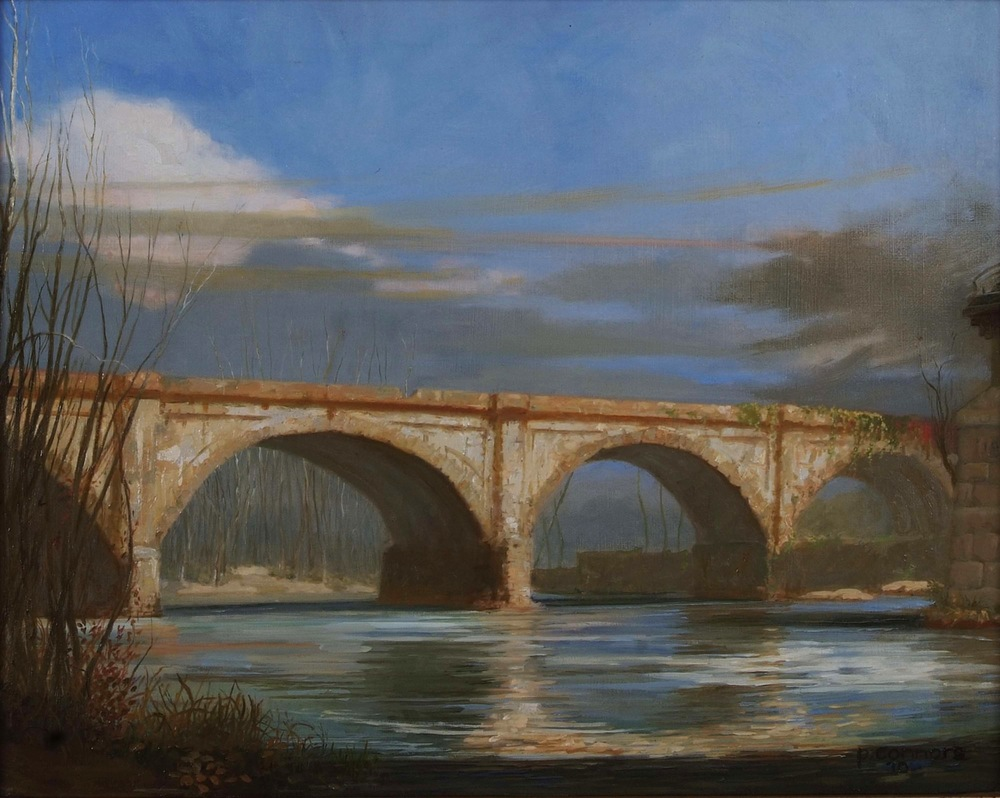 West Falls Bridge, Winter, 16 x 20 inches, oil on linen