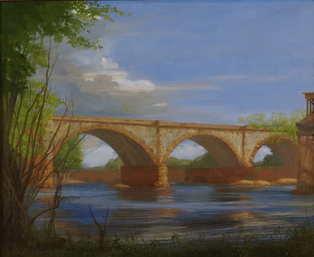 West Falls Bridge, Spring, 16 x 20 inches, oil on linen