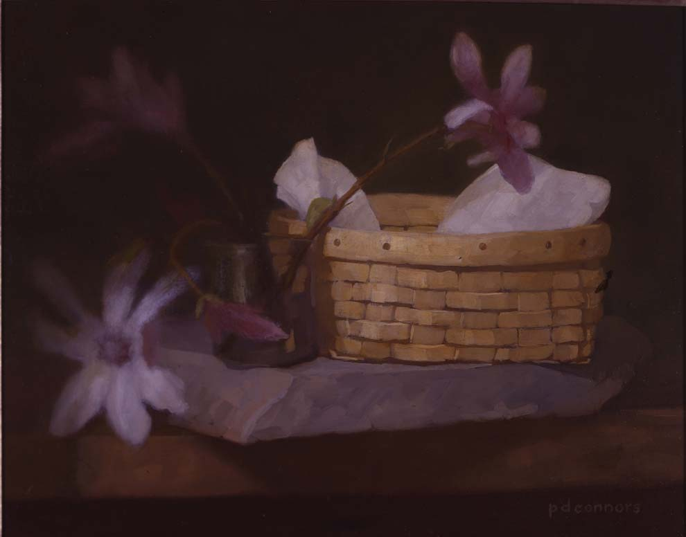 Magnolias with Basket, 16 x 20 inches, oil on linen