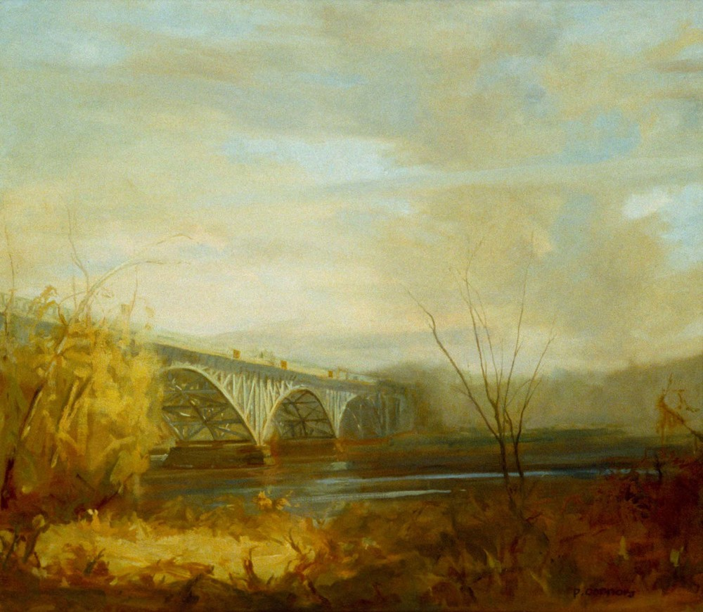 Strawberry Mansion Bridge, 26 x 32 inches, oil on linen