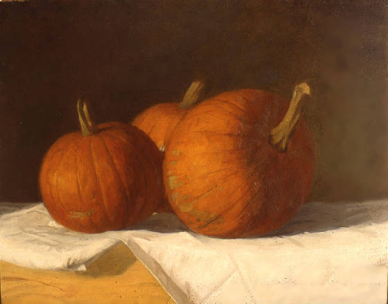 Three Pumpkins, 12 x 15 inches, oil on panel