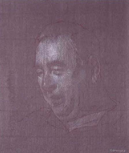 "My Father, 12"" x 10"", white & red chalk on toned paper"