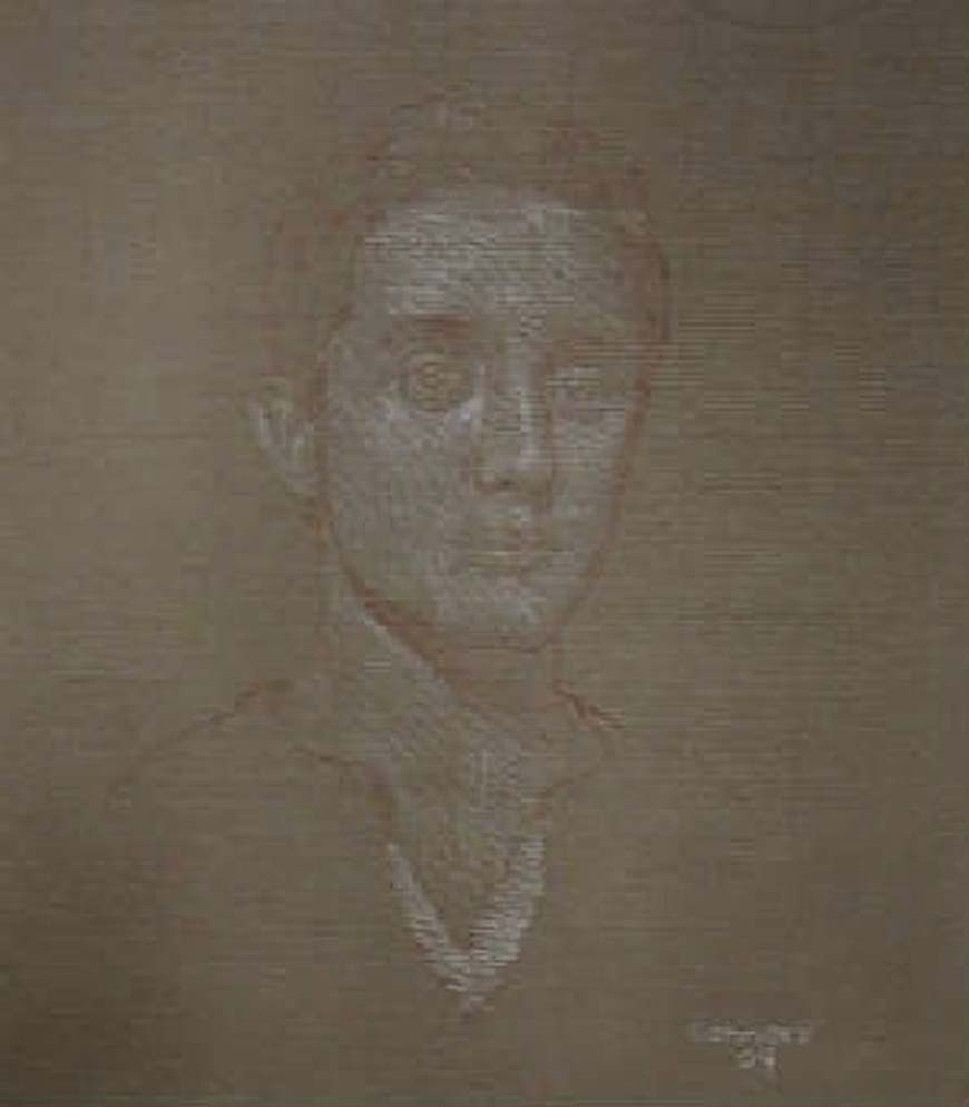 "Portrait of H. M., 15"" x 13"",white & red chalk on toned paper"