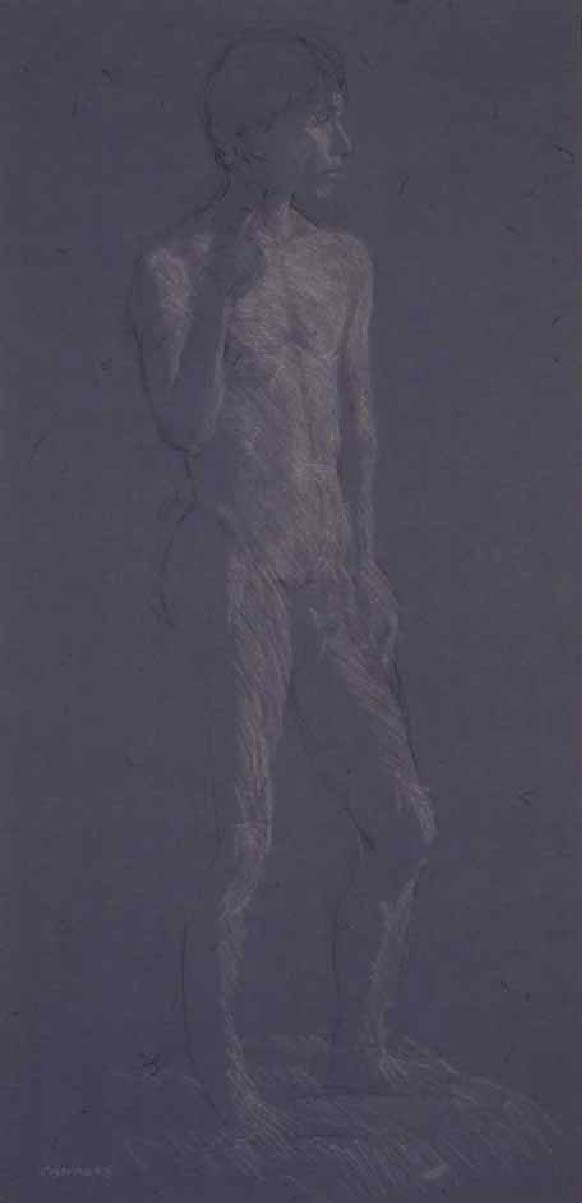 "Nude Male-1. 30"" x 14"", white chalk and charcoal on toned paper"