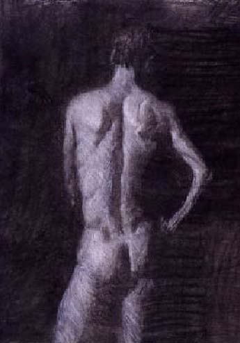"Nude Male-3, 24"" x 18"", charcoal on paper"