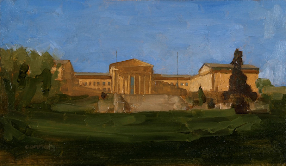 Philadelphia Museum of Art, East Entrance, 9 x 16 inches, oil on linen