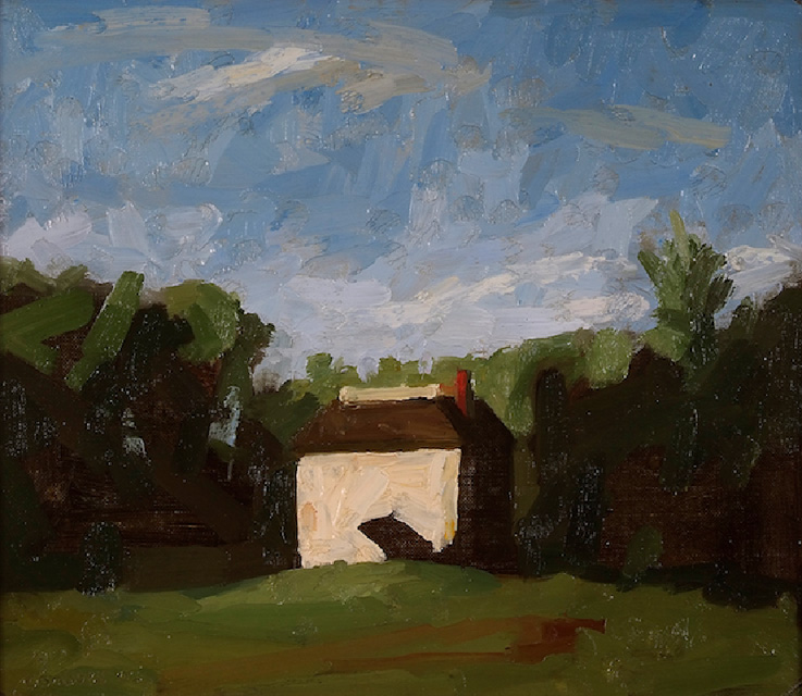 Fairmount Park House, 12 x 14 inches, oil on linen