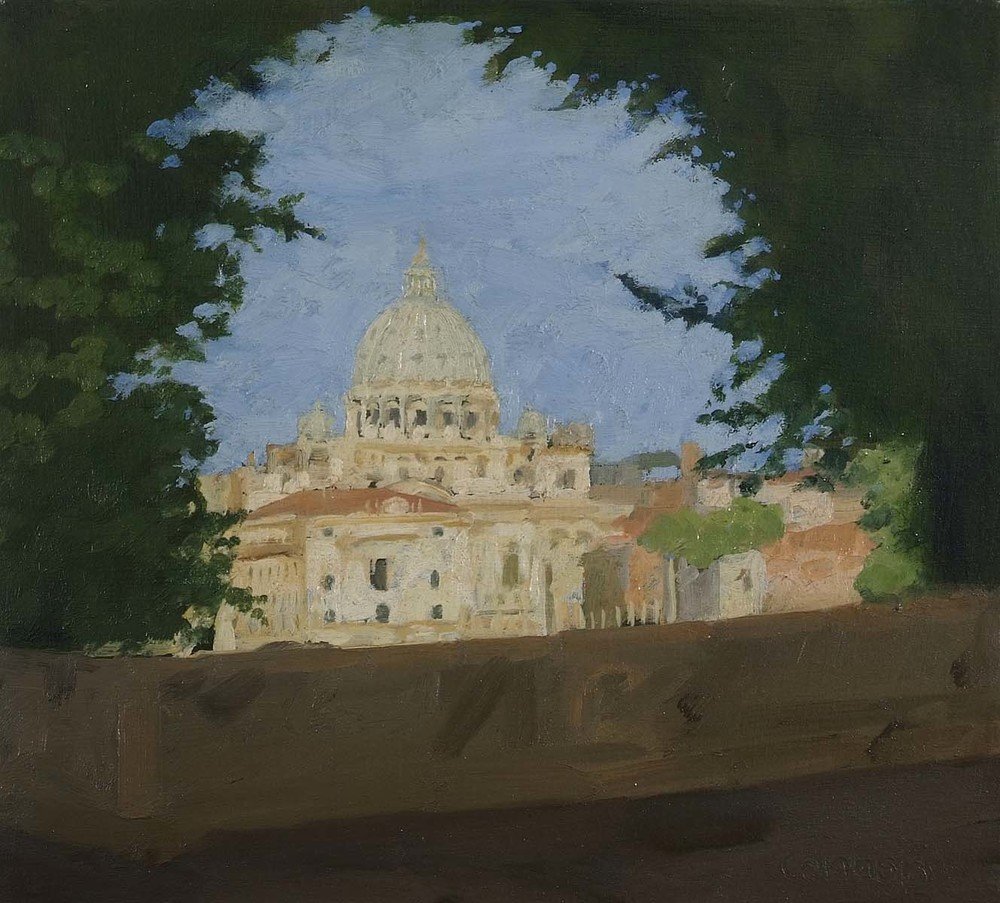 Saint Peter's Dome from Ponte Umberto, 9.5 x 12 inches, oil on prepared paper