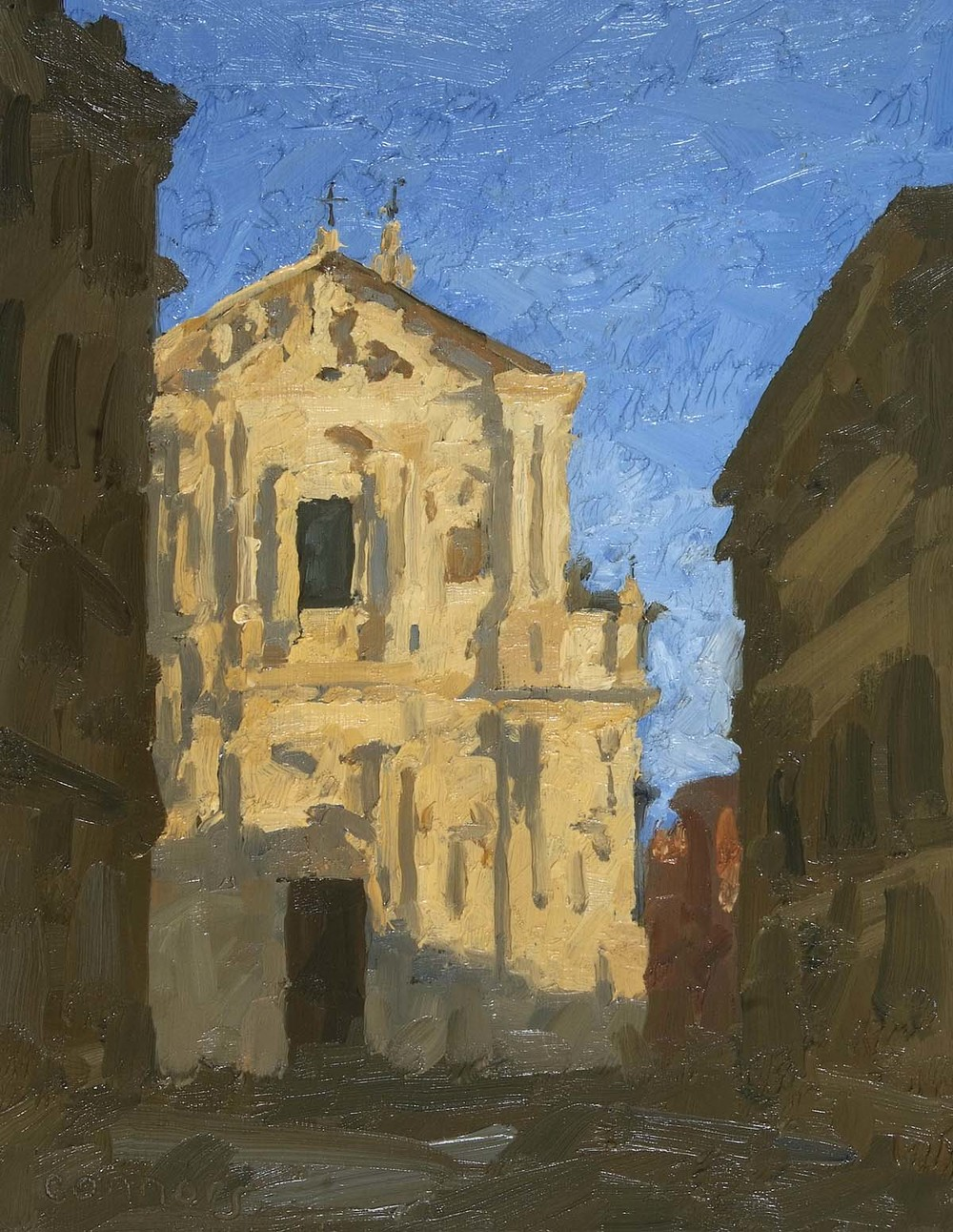 Sant'Andrea della Valle, 12 x 9.5 inches, oil on prepared paper