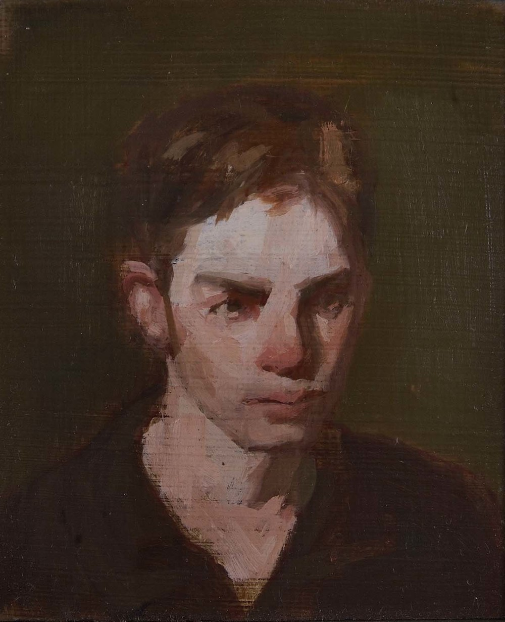 Portrait of M. T., 3.5 x 2.75 inches, oil on prepared paper