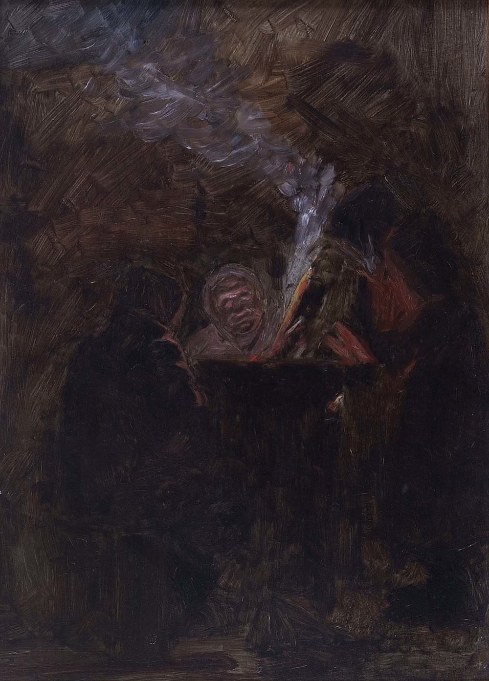 Homeless Men around a Fire,  12 x 8.5 inches, oil on masonite