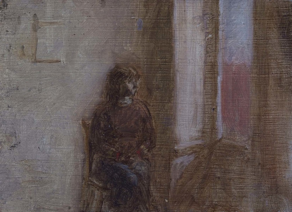 Seated Woman in an Interior, 5.5 x 7.5 inches, oil on wood