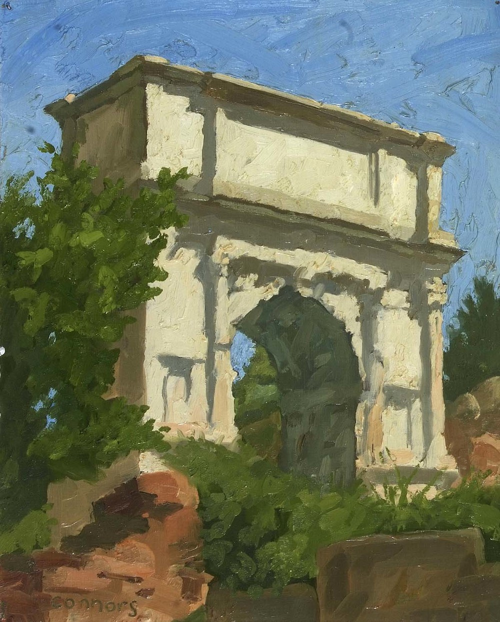 Arch of Titus, North View, 12 x 9.5 inches, oil on paper