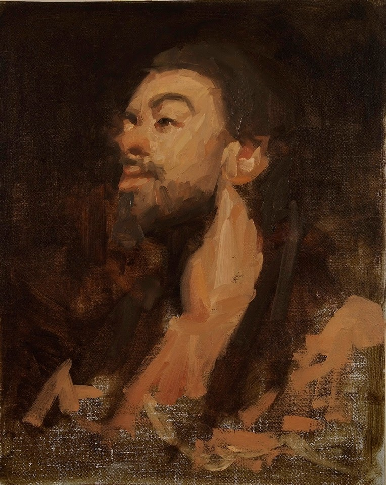 Portrait of K. O., 20 x 16 inches, oil on linen, Limited Earth Palette