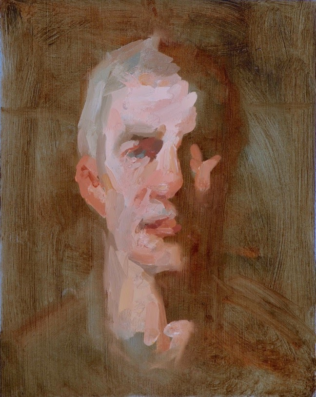 Portrait of J., 12 x 9.5 inches, oil on prepared paper, Limited Earth Palette Oil Sketch