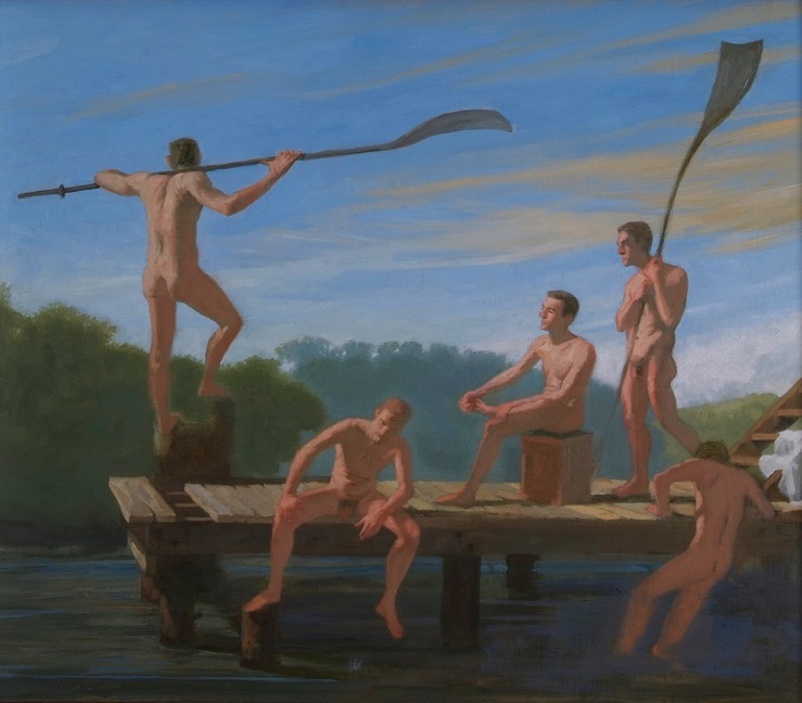 Five Nude Rowers on a Dock, 24 x 28 inches, oil on linen