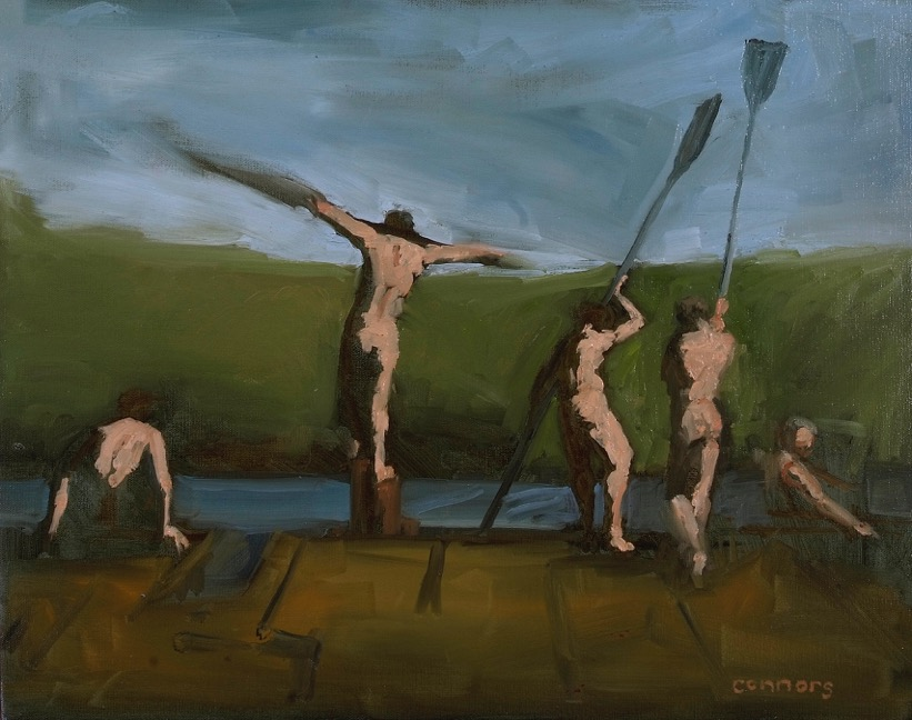 Study for Five Rowers, 16 x 20 inches, oil on linen