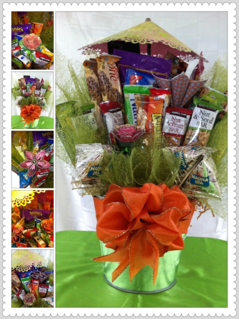 The finished corporate gift baskets.
