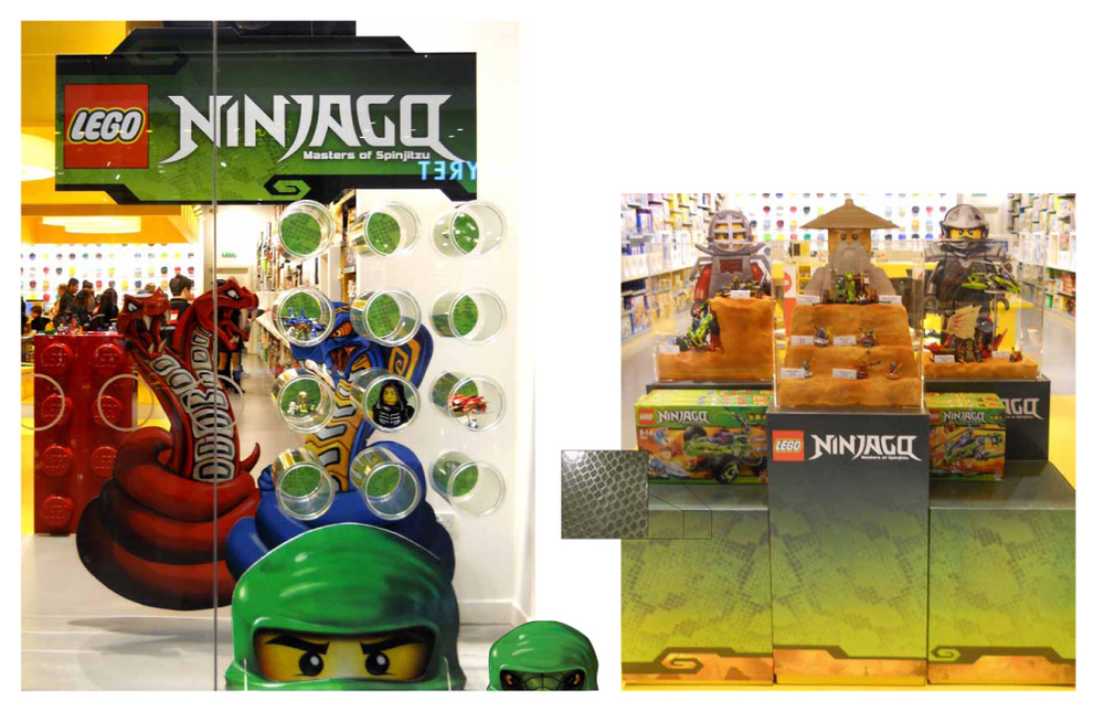 LEFT: Huge snakes and a ninja head with lenticular eyes. RIGHT: In-store display featuring snake skin texture on cube wraps.