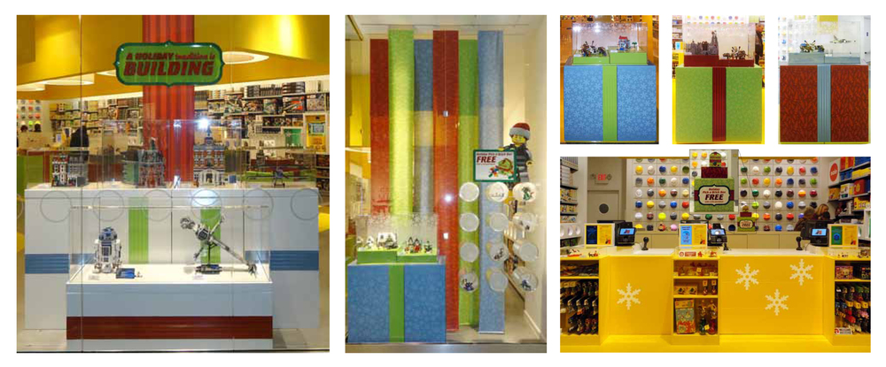 LEFT and CENTER: Front windows with holiday wrapping paper and ribbon. RIGHT: In-store displays.