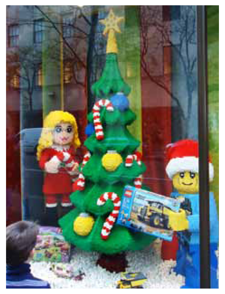 Rockefeller Center - Flagship Store Window. Special LEGO built model surrounded by Holiday graphics.