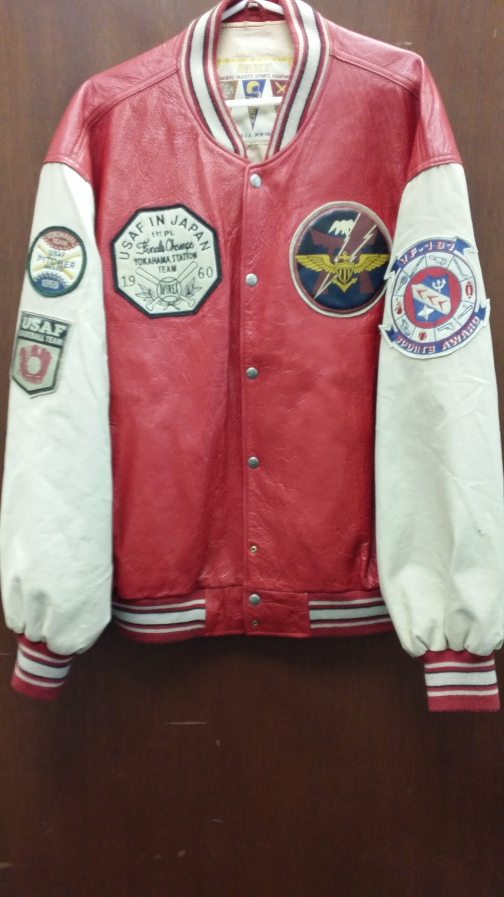 Vintage 1959-1960 USAF Leather Pitchers Jacket. Size 3XL in good condition. Estimated Value: $300 Starting Bid: $180