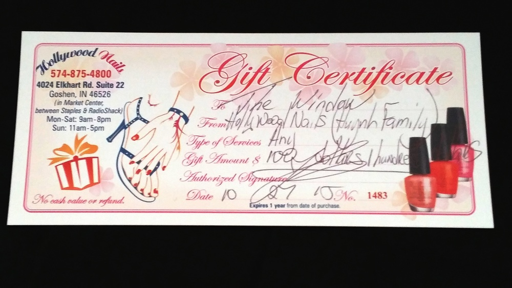 Two certificates are available for bid.    (1) SOLD    Value: $100     Starting Bid: $60